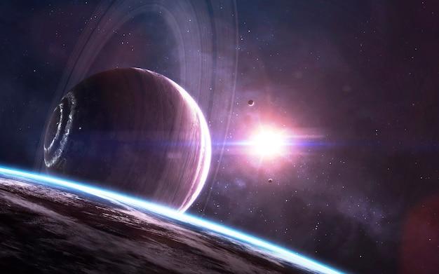 Gigante gasoso colossal. papel de parede de ficção científica, planetas, estrelas, galáxias e nebulosas em uma imagem cósmica incrível. elementos desta imagem fornecidos pela nasa