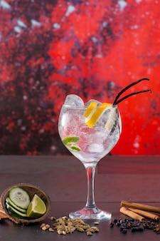 Gin tônica cocktail com especiarias em fundo vermelho grunge