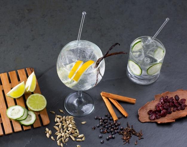 Gin tônica coquetel com lima e muitas especiarias