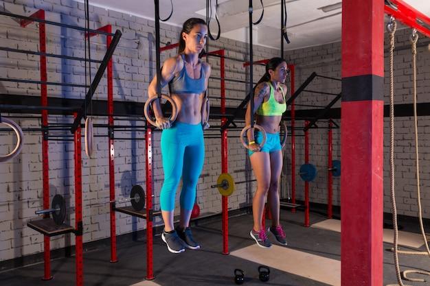 Ginásio meninas músculo ups anéis ginásio treino