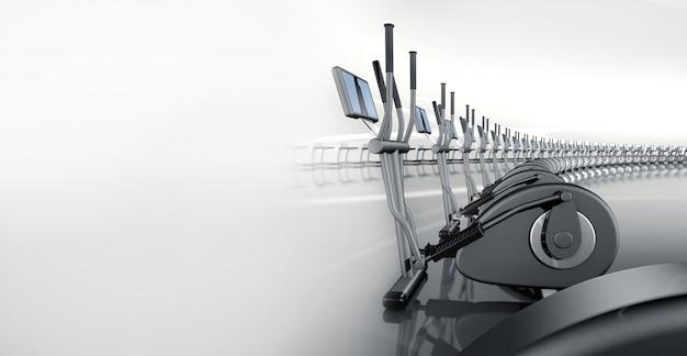 Ginásio moderno futurista com instrutor transversal elíptico