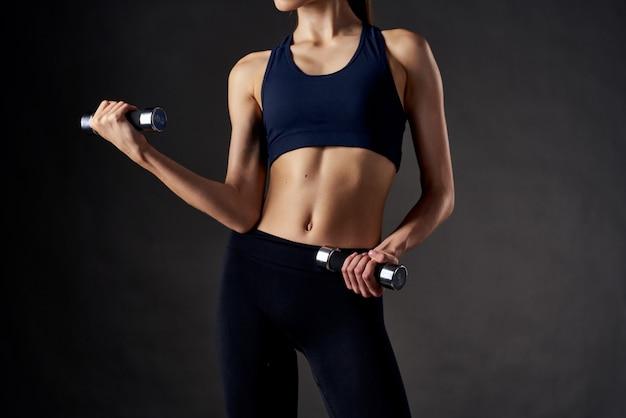 Ginástica atlética morena corpo esguio exercício estilo de vida