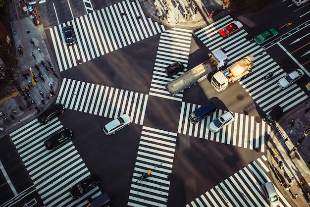 Ginza cross em tóquio. vista de cima
