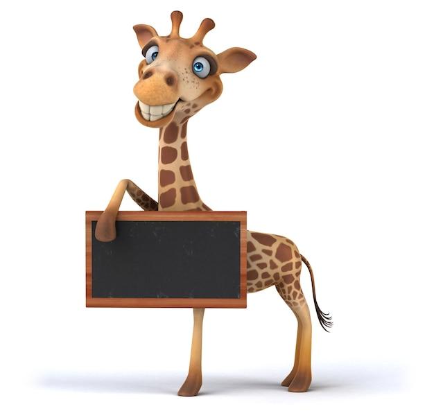 Girafa 3d divertida segurando uma lousa