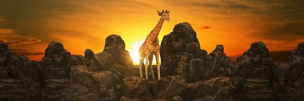 Girafa ao pôr do sol renderização em 3d
