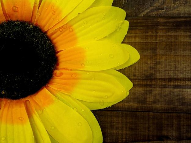 Girassol amarelo na mesa de madeira, close-up, copie o espaço