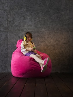 Girl on beanbag