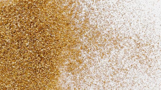 Glitter dourado de luxo em papel de parede branco