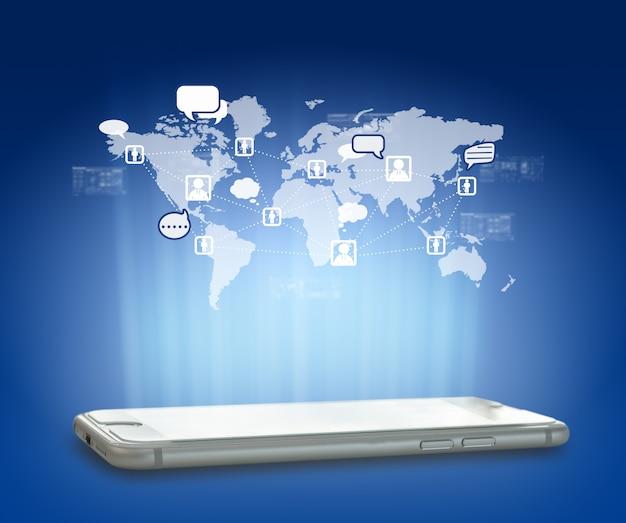 Globalização ou conceito de rede social com nova geração de telefone celular