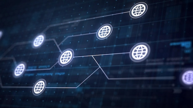 Globe internet icon line conexão da placa de circuito