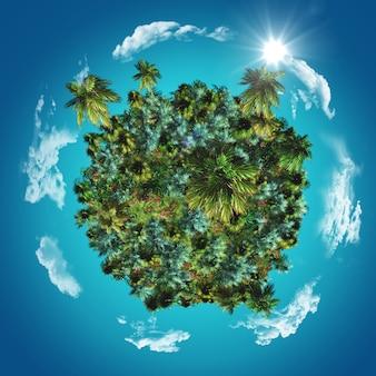 Globo 3d com palmeiras tropicais e gramíneas com nuvens