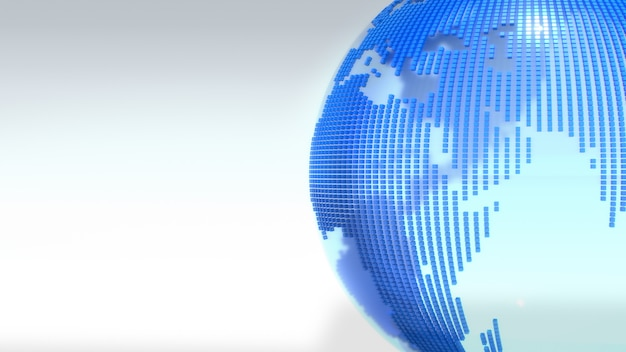 Globo claro como o mapa do mundo azul. renderização em 3d.