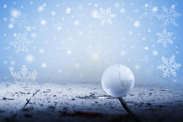 Globo com fundo de natal floco de neve