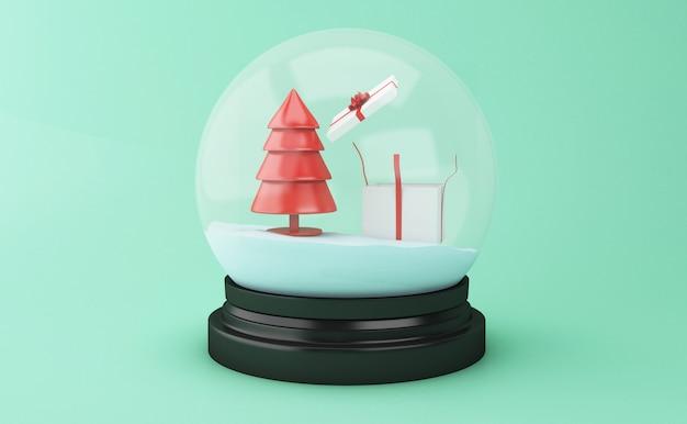 Globo da neve 3d com árvore de natal e caixa de presente.