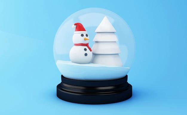Globo da neve 3d com árvore e boneco de neve de natal.
