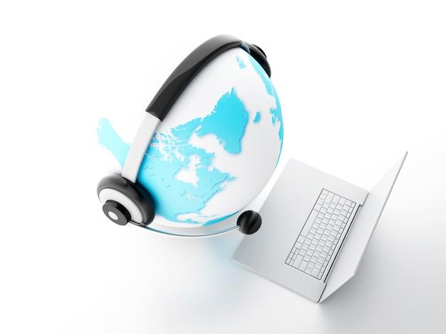 Globo da terra. conceito de comunicação global