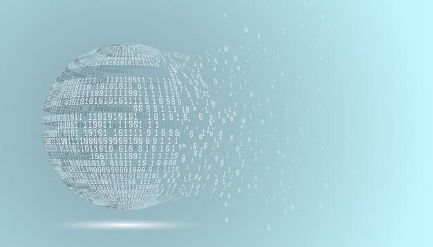 Globo de código binário. planeta de tecnologia. big data. rede global. inteligência artificial. do caos ao sistema.