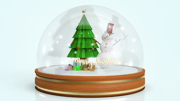 Globo de neve com renderização 3d de boneco de neve