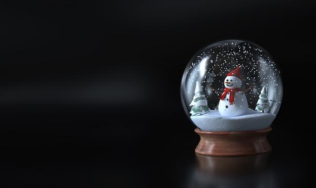 Globo de neve com um boneco de neve, boneco de neve e árvores verdes