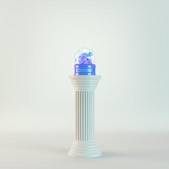 Globo de neve de natal com 2021 figuras na coluna antiga