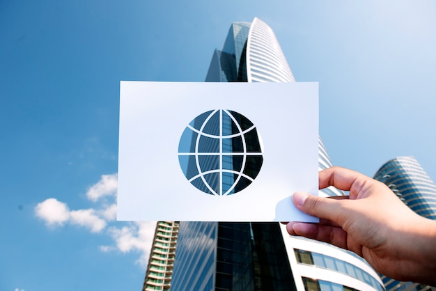 Globo de papel de tecnologia de rede globalização perfurada