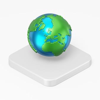 Globo de renderização 3d com ícone de continentes na tecla do botão quadrado branco isolada no fundo branco