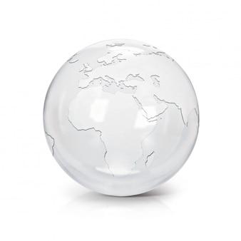 Globo de vidro transparente ilustração 3d europa e áfrica mapa em branco isolado