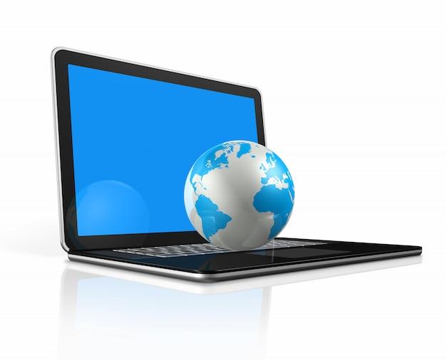 Globo do mundo 3d, mapa em um computador portátil