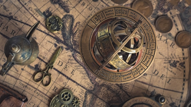 Globo do zodíaco; esfera armilar de bronze