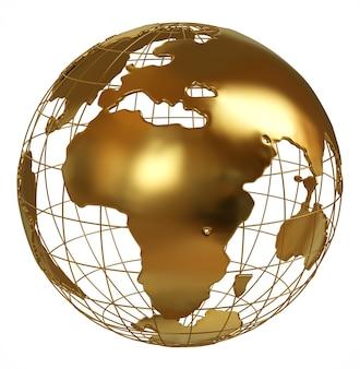 Globo dourado lado da áfrica isolado no branco
