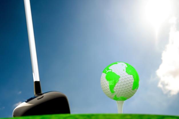 Globo, ligado, bola golfe, ligado, grama verde