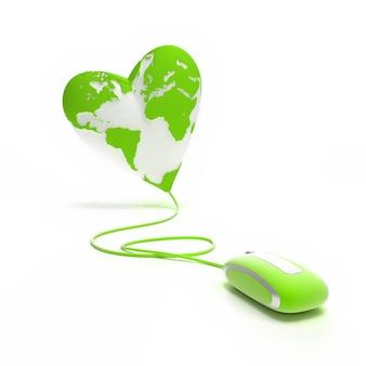 Globo mundial em forma de coração conectado a um mouse em tons verdes