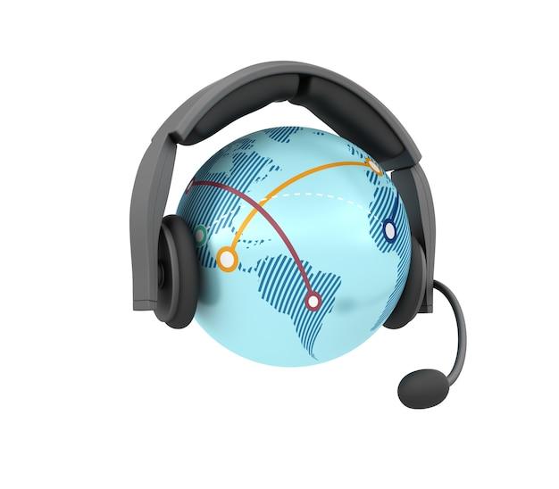 Globo mundo com fones de ouvido