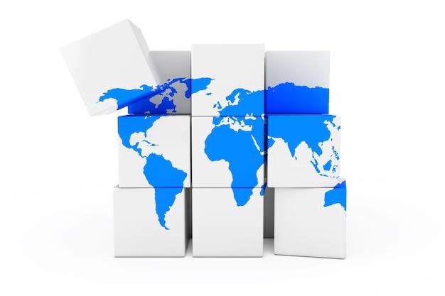 Globo mundo mapa da terra em forma de cubo em um fundo branco. renderização 3d