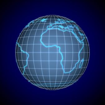 Globo no espaço azul. ilustração 3d isolada