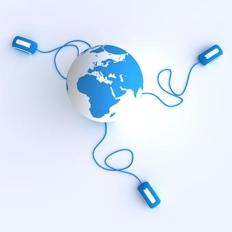 Globo terrestre azul e branco conectado a três ratos de computador.