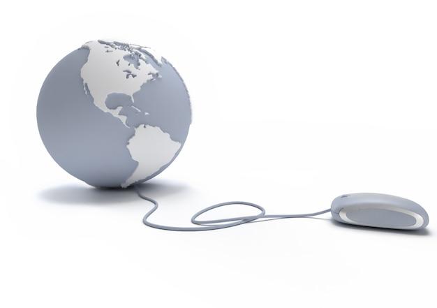 Globo terrestre cinza e branco orientado para a américa conectado com um mouse de computador
