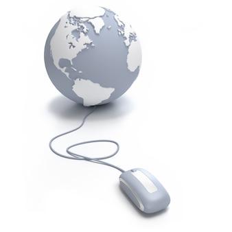 Globo terrestre cinza e branco orientado para o atlântico conectado com um mouse de computador