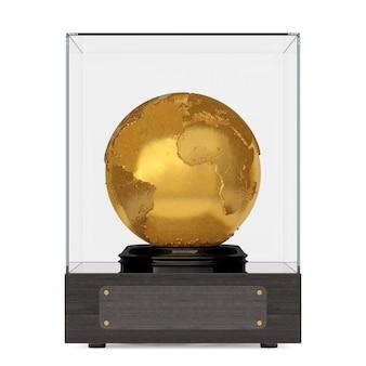 Globo terrestre de metal dourado topografia realista em cubo de vidro com placa para o seu texto em um fundo branco. renderização 3d