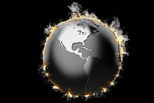 Globo terrestre em chamas em fundo escuro
