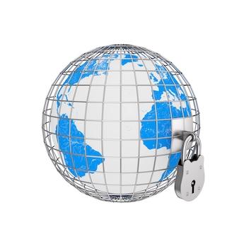 Globo terrestre em gaiola de metal com grande cadeado velho em um fundo branco. renderização 3d