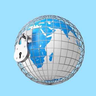 Globo terrestre em gaiola de metal com grande cadeado velho sobre um fundo azul. renderização 3d