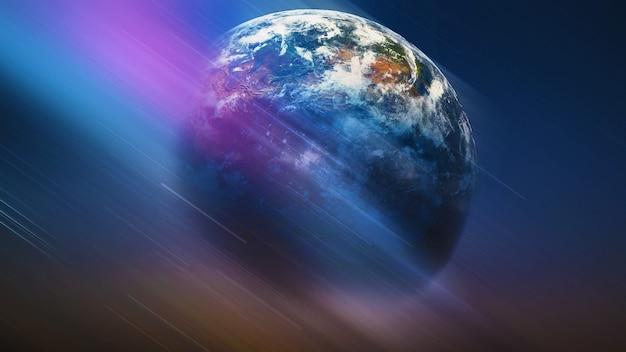Globo terrestre entre ilustração futurística do cosmos do espaço