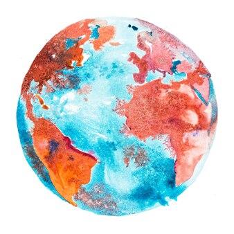 Globo terrestre, planeta terra. o oceano mundial, mar entre a américa, a áfrica e a europa.
