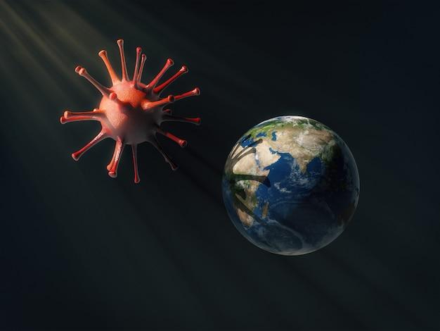 Globo terrestre sob a sombra do coronavírus