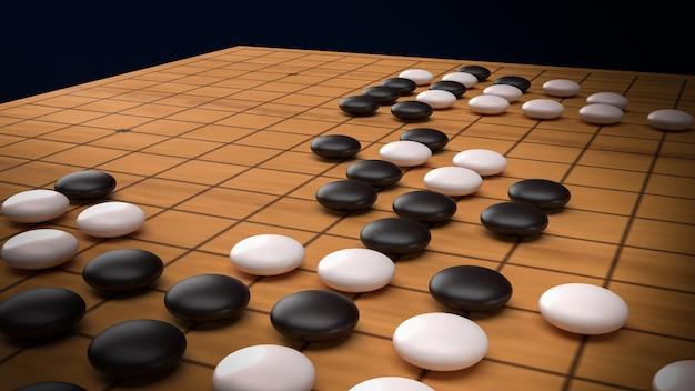 Goâ jogo de tabuleiro de estratégia abstrato para dois jogadores renderização em 3d.