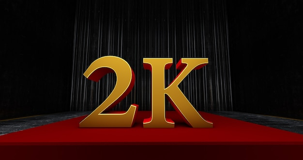Golden 2k ou 2000, obrigado, usuário da web. obrigado, comemore de assinantes ou seguidores e gostos, renderização 3d