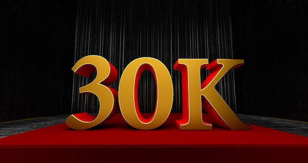 Golden 30k or 30000 thank you, web user obrigado comemorar de assinantes ou seguidores e gostos, 3d render