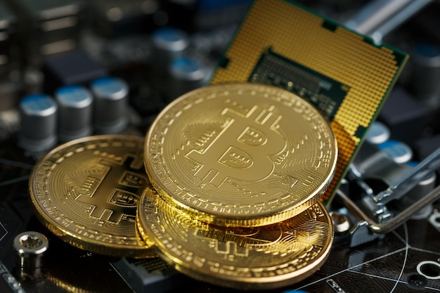 Golden bitcoin cryptocurrency na placa de circuito impresso do computador.