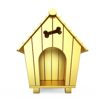 Golden cartoon dog house sobre um fundo branco. renderização 3d